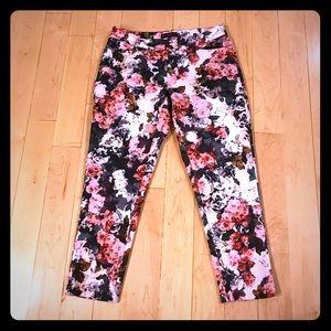 Eloquii white pink floral Kady pants size 14